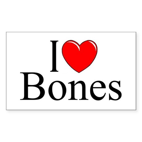 """I Love Bones"" Rectangle Sticker"