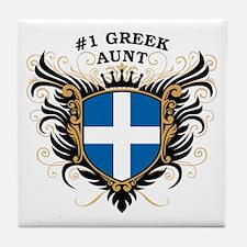 Number One Greek Aunt Tile Coaster