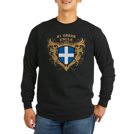 Number One Greek Uncle Long Sleeve Dark T-Shirt