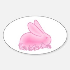 Bun In The Oven Pink II Oval Decal
