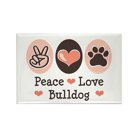 Peace Love Bulldog Rectangle Magnet (100 pack)