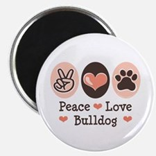 "Peace Love Bulldog 2.25"" Magnet (10 pack)"