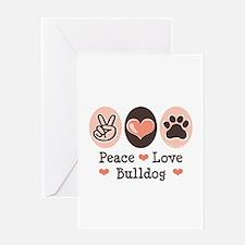 Peace Love Bulldog Greeting Card