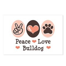 Peace Love Bulldog Postcards (Package of 8)