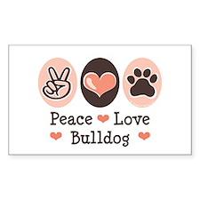 Peace Love Bulldog Rectangle Decal