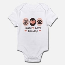 Peace Love Bulldog Infant Bodysuit