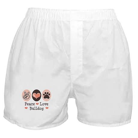 Peace Love Bulldog Boxer Shorts
