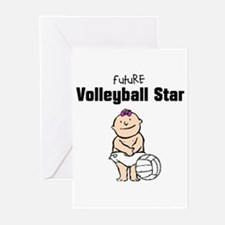 Future Volleyball Girl Star Greeting Cards (Pk of