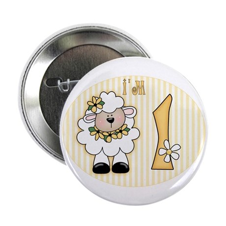 """Daisy Lamb First Birthday 2.25"""" Button (100 pack)"""
