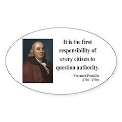 Benjamin Franklin 17 Oval Decal