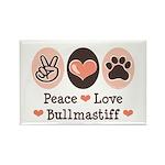 Peace Love Bullmastiff Rectangle Magnet