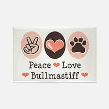 Peace Love Bullmastiff Rectangle Magnet (100 pack)