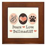 Peace Love Bullmastiff Framed Tile