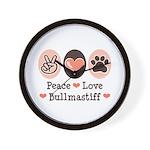 Peace Love Bullmastiff Wall Clock