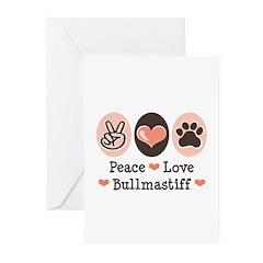 Peace Love Bullmastiff Greeting Cards (Pk of 10)
