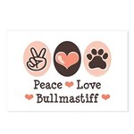 Peace Love Bullmastiff Postcards (Package of 8)