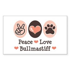 Peace Love Bullmastiff Rectangle Decal