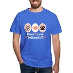 Peace Love Bullmastiff Dark T-Shirt