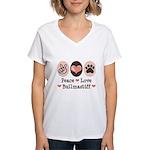 Peace Love Bullmastiff Women's V-Neck T-Shirt