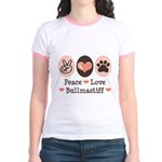 Peace Love Bullmastiff Jr. Ringer T-Shirt