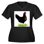 Black Sex-link Hen Women's Plus Size V-Neck Dark T