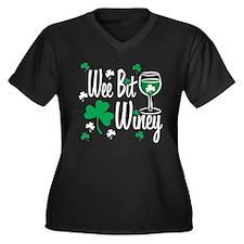 Wee Bit Winey Women's Plus Size V-Neck Dark T-Shir