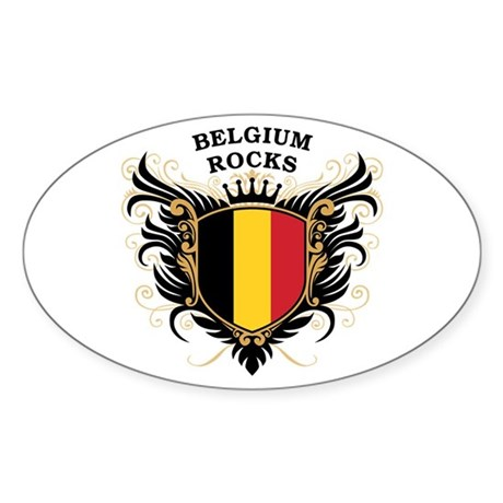 Belgium Rocks Oval Sticker