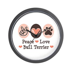 Peace Love Bull Terrier Wall Clock
