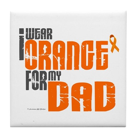 I Wear Orange For My Dad 6 Tile Coaster