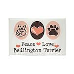 Peace Love Bedlington Rectangle Magnet (10 pack)