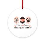 Peace Love Bedlington Ornament (Round)