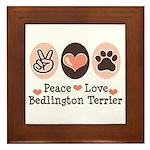 Peace Love Bedlington Framed Tile