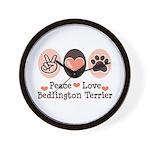 Peace Love Bedlington Wall Clock