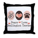 Peace Love Bedlington Throw Pillow