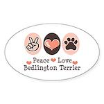 Peace Love Bedlington Oval Sticker