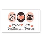 Peace Love Bedlington Rectangle Sticker