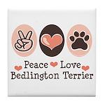 Peace Love Bedlington Tile Coaster
