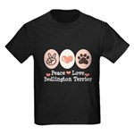 Peace Love Bedlington Kids Dark T-Shirt