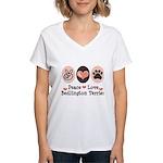 Peace Love Bedlington Women's V-Neck T-Shirt