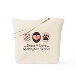 Peace Love Bedlington Tote Bag