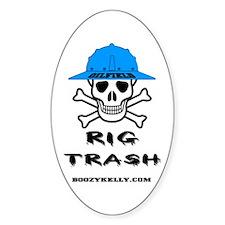 Oilfield Rig Trash Oval Bumper Stickers