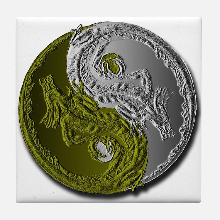 Dragons Yin-Yang Tile Coaster