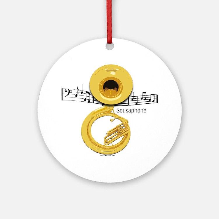 Sousaphone Music Ornament (Round)