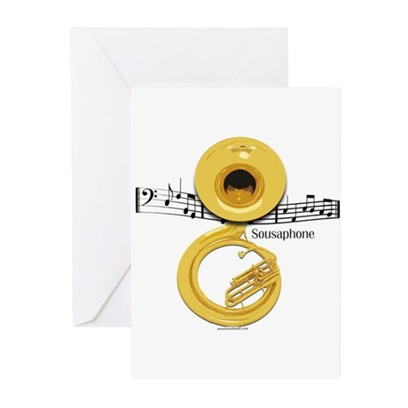 Sousaphone Music Greeting Cards (Pk of 10)