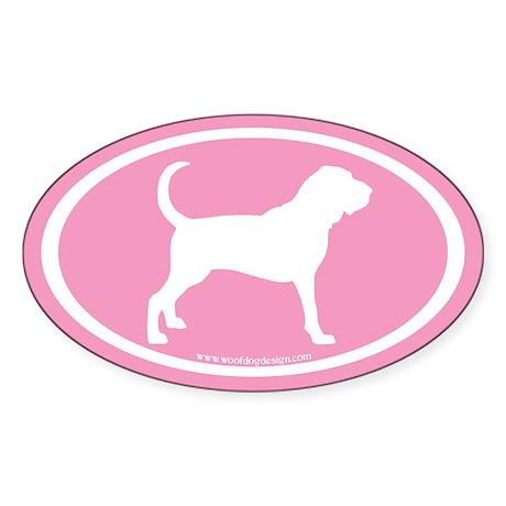 Bloodhound Oval (white on pink) Oval Sticker