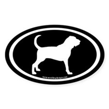 Bloodhound Oval (white on black) Oval Decal
