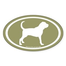 Bloodhound Oval (white on sage) Oval Decal