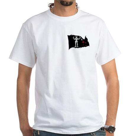 Blackbeard Flag & Woodcut White T-Shirt
