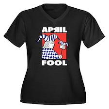 April Fool's Day Women's Plus Size V-Neck Dark T-S