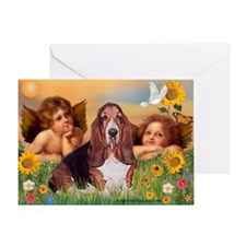 Angels & Basset Greeting Card